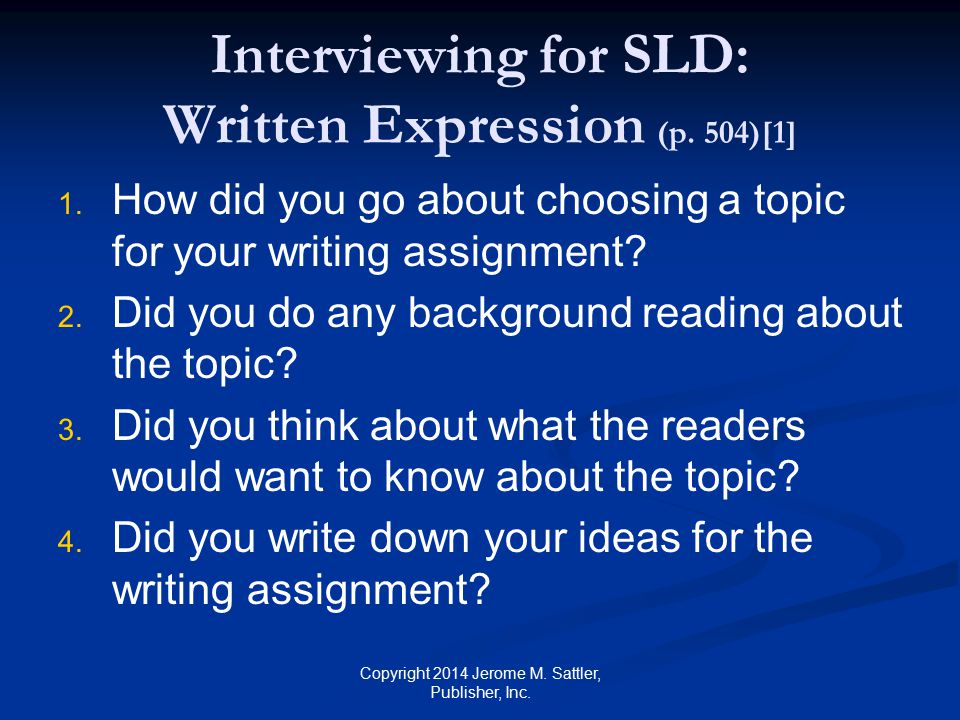 Interviewing for SLD: Written Expression (p. 504)[1]